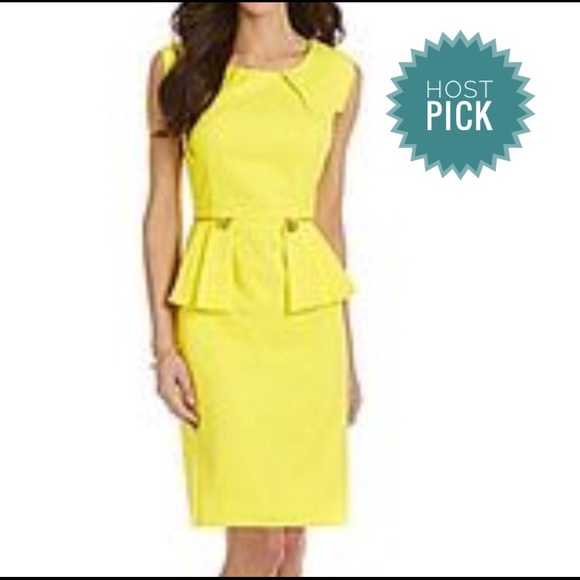 01af6273be7 ANTONIO MELANI Dresses   Skirts - Antonio Melani yellow Peplum Sheath Dress